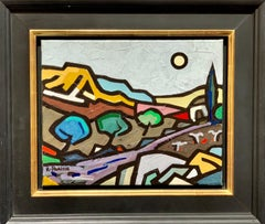 20th century Abstract French mountain river landscape