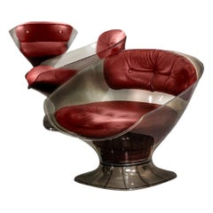 Raphael Rafael French Modern Smokey Lucite Club Tub Chair, Red, Leather, 1960s
