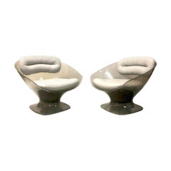 Raphael Raffel Pod Bronze Acrylic Pair of Chairs with Light Gray Leather Seats