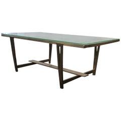 Raphael Raffel Saint Gobain Glass Slab Top and Gilt Bronze Coffee Table, 1960