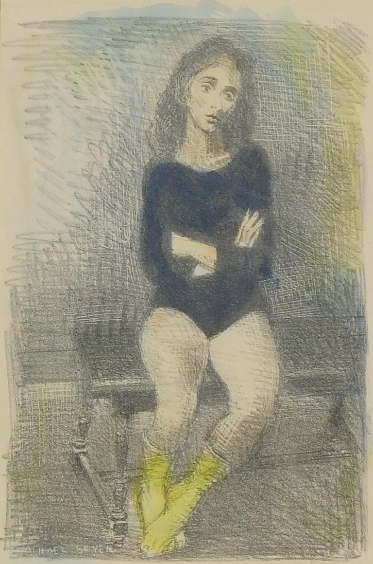 Raphael Soyer Original Lithograph - Watercolor added by the artist's hand, 1955  The image measures 13
