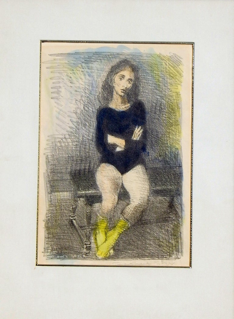Raphael Soyer Original Lithograph/Watercolor, 1955,