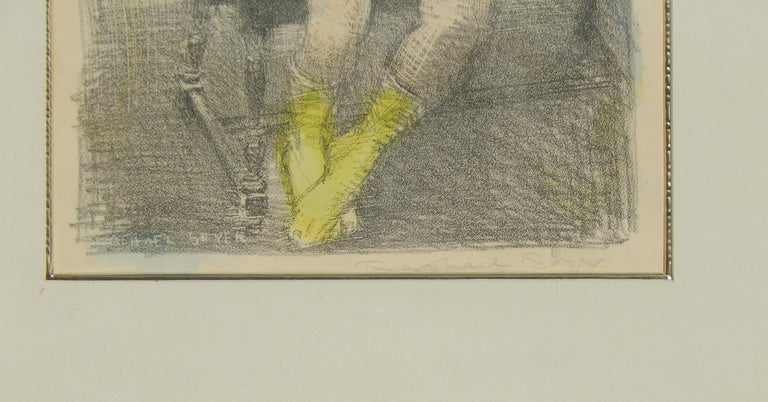 Mid-20th Century Raphael Soyer Original Lithograph/Watercolor, 1955,