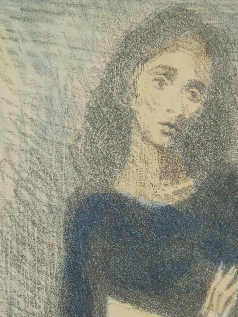 Paper Raphael Soyer Original Lithograph/Watercolor, 1955,