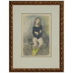 "Raphael Soyer Original Lithograph/Watercolor, 1955, ""The Dancer"""