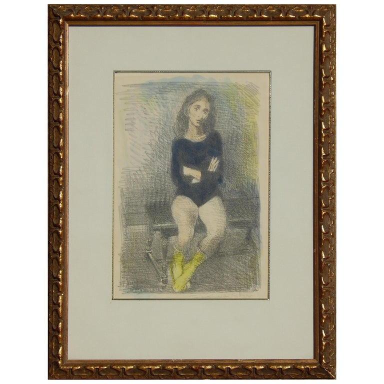 "Raphael Soyer Original Lithograph/Watercolor, 1955, ""The Dancer"" For Sale"