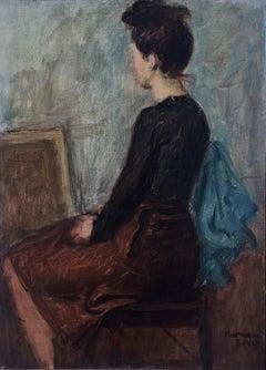 Lady Sitting, Figurative, New York Social Realist, Urban, Mid-Century
