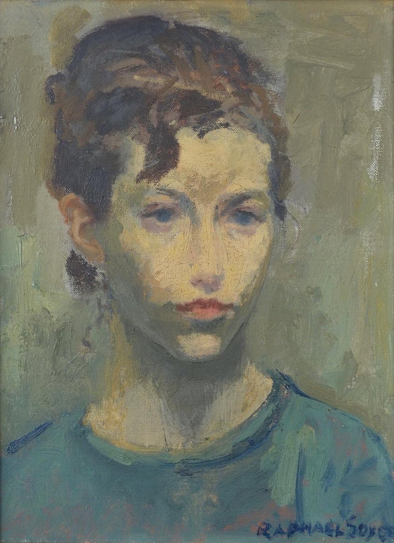 Portrait of a Young Woman - Painting by Raphael Soyer