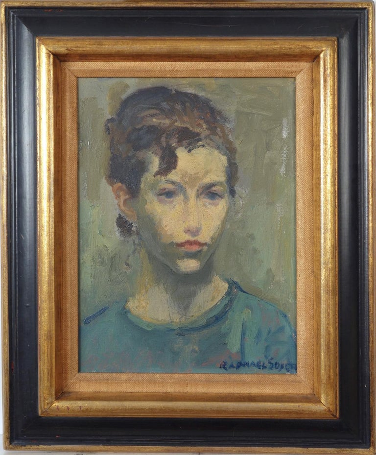 Raphael Soyer Figurative Painting - Portrait of a Young Woman