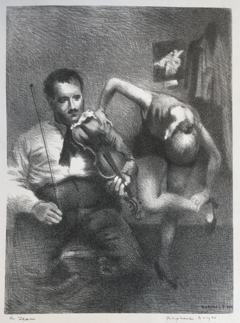 Raphael Soyer Figurative Print - A Team