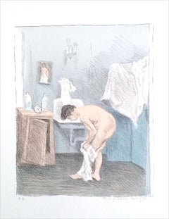 AFTER THE BATH Signed Color Lithograph, Nude Portrait, Woman Dressing, Pale Blue