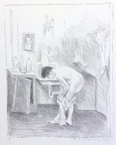 AFTER THE BATH Signed Lithograph, Nude Portrait, Woman Dressing