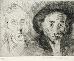 DOUBLE SELF PORTRAIT WITH HAT Signed Etching, Artist Portrait, Somber Man