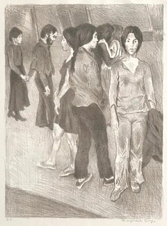 GATHERING Signed Stone Lithograph, NYC Group Portrait Drawing, Light Brown