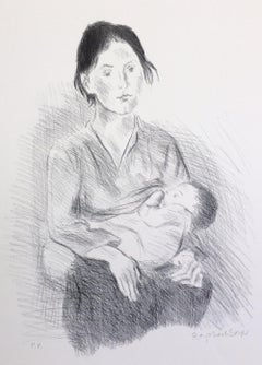 NURSING MOTHER SEATED Signed Lithograph, Portrait Drawing, Baby Breastfeeding