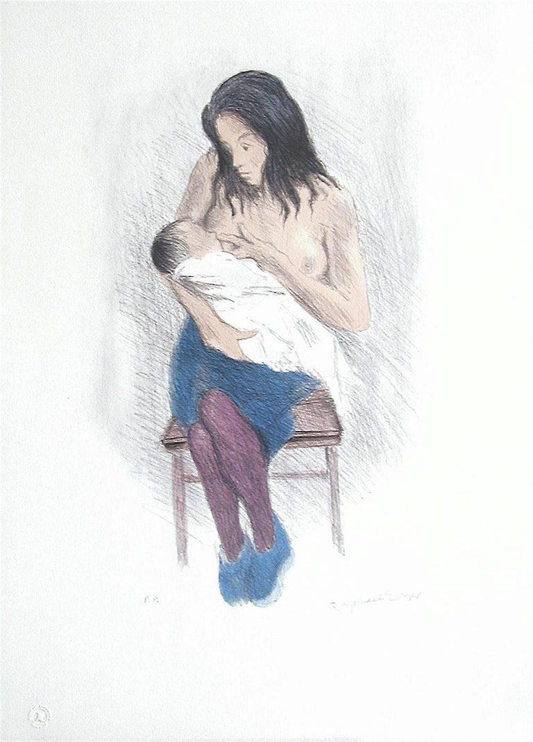 NURSING MOTHER, Signed Lithograph, Motherhood, Social Realism, Breastfeeding Art - Print by Raphael Soyer