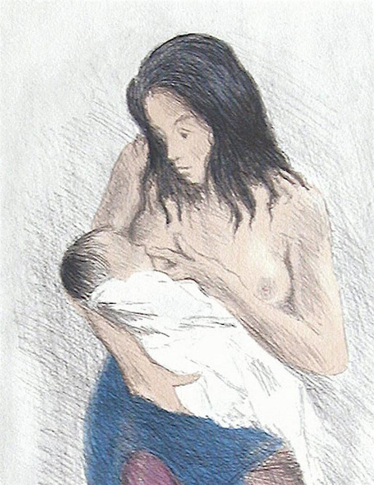 NURSING MOTHER, Signed Lithograph, Motherhood, Social Realism, Breastfeeding Art - Gray Portrait Print by Raphael Soyer