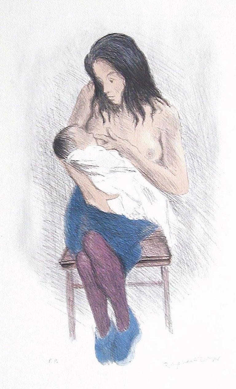 NURSING MOTHER, Signed Lithograph, Motherhood, Social Realism, Breastfeeding Art - Realist Print by Raphael Soyer