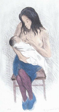 NURSING MOTHER, Signed Lithograph, Motherhood, Social Realism, Breastfeeding Art