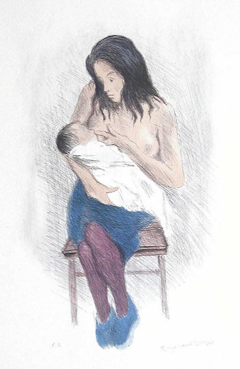 NURSING MOTHER, Signed Lithograph, Motherhood, Social Realism, Breastfeeding Art