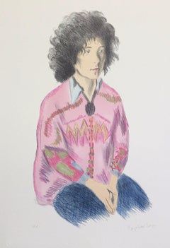 Portrait of Liz, Signed Original Lithograph, Seated Female Portrait Drawing