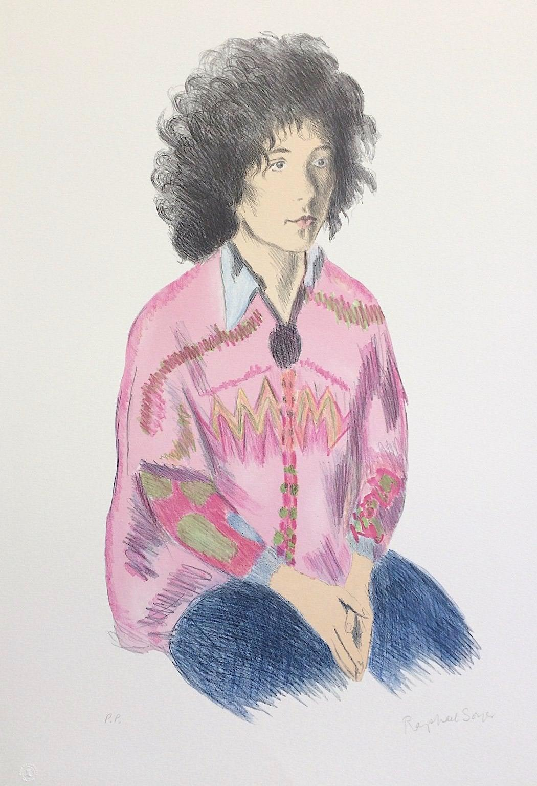 Portrait of Liz, Signed Lithograph, Female Portrait, Pink Tunic, Blue Jeans