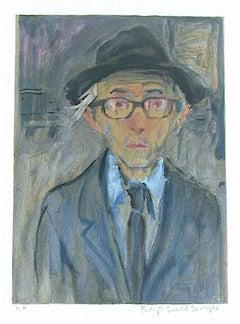 Raphael Soyer Self-Portrait, Signed Lithograph, Realism Artist Self Portrait