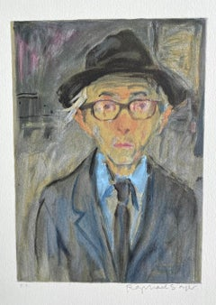 Raphael Soyer Self-Portrait, Signed Lithograph, Man in Hat w Glasses, Realism