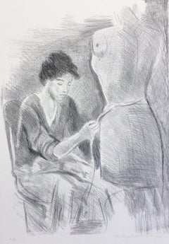 SEATED SEAMSTRESS, Signed Lithograph, Female Portrait, Graphite Drawing