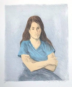 SEATED WOMAN ARMS CROSSED Signed Lithograph, Young Woman Arms Crossed, Blue Tee