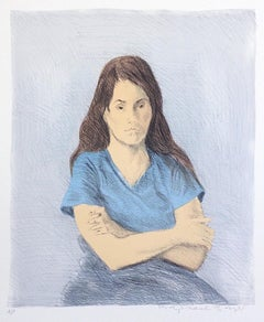 SEATED WOMAN ARMS CROSSED Signed Lithograph, Portrait Young Woman, Blue V-Neck