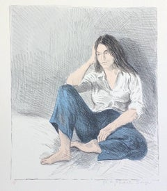 SEATED WOMAN BLUE JEANS, Signed Lithograph, Female Portrait, Graphite Drawing