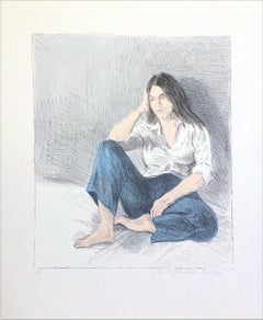 SEATED WOMAN BLUE JEANS Signed Lithograph Young Woman White Shirt Long Dark Hair