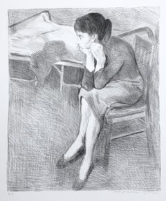 SEATED WOMAN ON BED Signed Lithograph, Seated Female Portrait Interior Scene