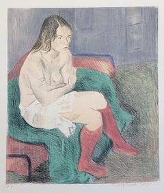 SEATED WOMAN PINK SOCKS, Signed Lithograph, Female Portrait, Graphite Drawing