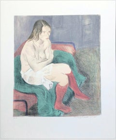 SEATED WOMAN PINK SOCKS Signed Lithograph, Female Portrait, Graphite Drawing