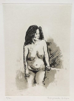 STANDING NUDE DARK HAIR Signed Etching, Classic Female Nude, Casual Pose