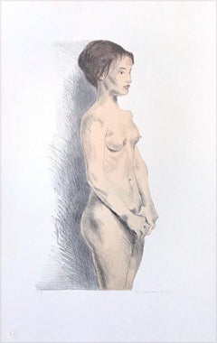 STANDING NUDE Hand Drawn Lithograph, Classic Female Nude
