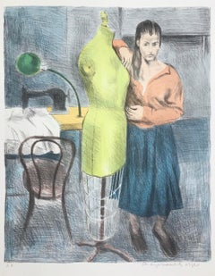 STANDING SEAMSTRESS Signed Color Lithograph, Female Portrait, Dress Form, Sewing