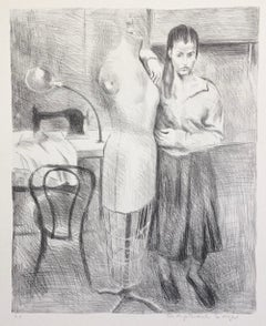 STANDING SEAMSTRESS, Signed Lithograph, Female Portrait, Black and White Drawing