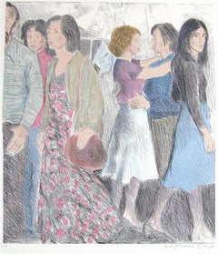 STREET SCENE Signed Lithograph, NYC Crowd Portrait Pencil Drawing, A-Line Skirts