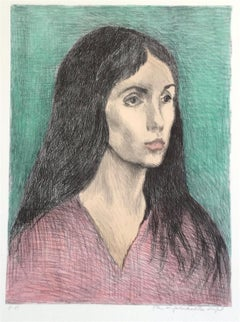 WOMAN LONG DARK HAIR, Signed Lithograph, Female Portrait, Graphite Drawing