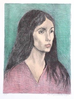 WOMAN LONG DARK HAIR Signed Lithograph, Female Portrait Head, Pink V-Neck