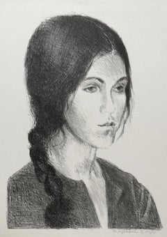 YOUNG WOMAN BRAIDED HAIR, Signed Lithograph, B+W Portrait, Graphite Drawing