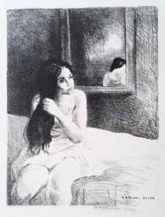 YOUNG WOMAN COMBING HER HAIR Hand Drawn Signed Lithograph, Interior Portrait