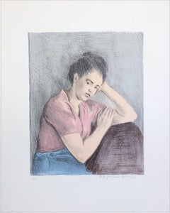 YOUNG WOMAN PINK BLOUSE Signed Lithograph, Portrait Drawing, Social Realism