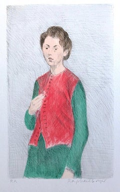 YOUNG WOMAN RED VEST Signed Lithograph, Female Portrait, Hair Up, Green Dress