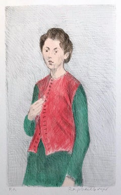 YOUNG WOMAN RED VEST, Signed Original Lithograph, Female Portrait Drawing