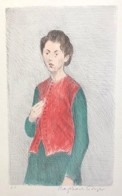 YOUNG WOMAN RED VEST, Signed Original Lithograph, Social Realism