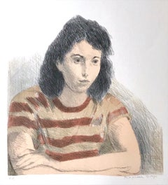 YOUNG WOMAN, STRIPED TEE SHIRT Signed Lithograph, Female Portrait, Rust, Peach